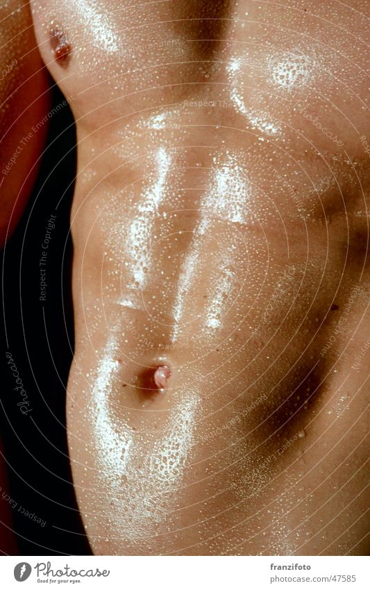 Washboard the first Man Multicoloured Wet Drops of water Nude photography Chest Stomach Detail Male nude