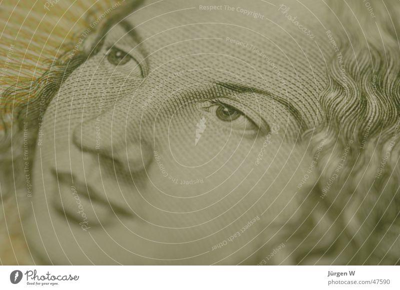 Woman Green Money D-mark Bank note Photographic technology Five Deutschmarks Five Deutschmark bill