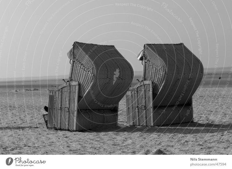 beach chair Beach chair Lake Ocean Fohr Water Black & white photo In pairs