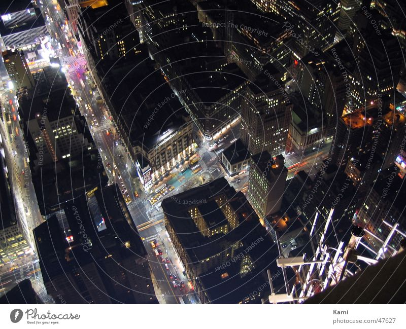From Above Empire State building New York City Night Light High-rise Street Mixture crossing