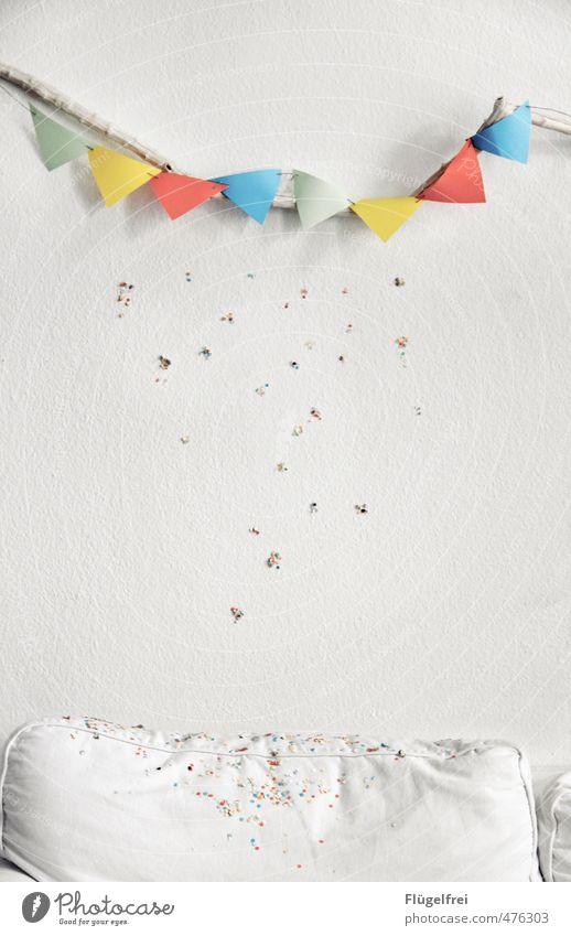Confetti rain. Living room Joy Paper chain Sofa Party Birthday Feasts & Celebrations Rain Party mood Childlike Triangle Branch Childrens birthsday Colour photo