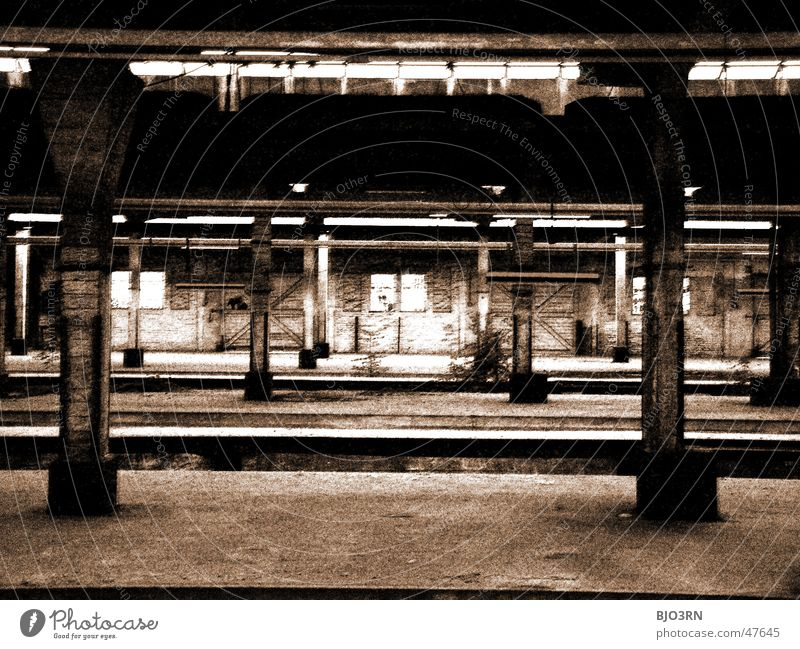 Loneliness Dark Wall (barrier) Lanes & trails Building Factory Railroad tracks Creepy Train station Column Platform