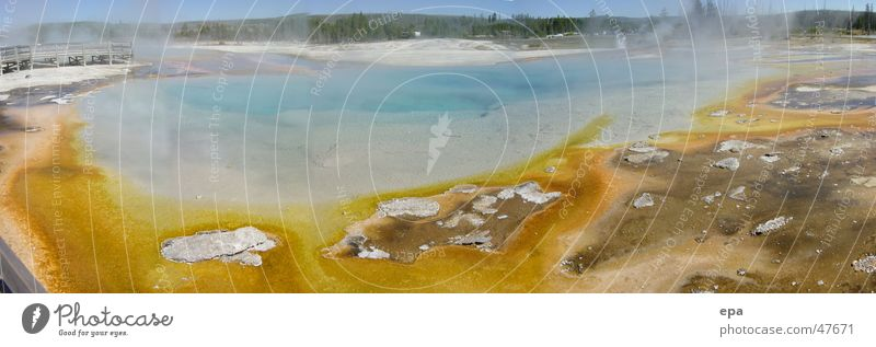 Water Yellow Warmth Landscape Large USA Panorama (Format) National Park Geyser Yellowstone Nationalparc