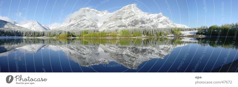 September in Canada 2 National Park Vacation & Travel Panorama (View) Reflection Lake sepember Snow Sun Water Sky Blue Mountain Landscape Large