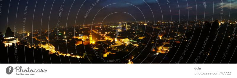 Graz @ night Town Long exposure Panorama (View) Clock tower Night Dark Light Lighting Vantage point Large Panorama (Format)