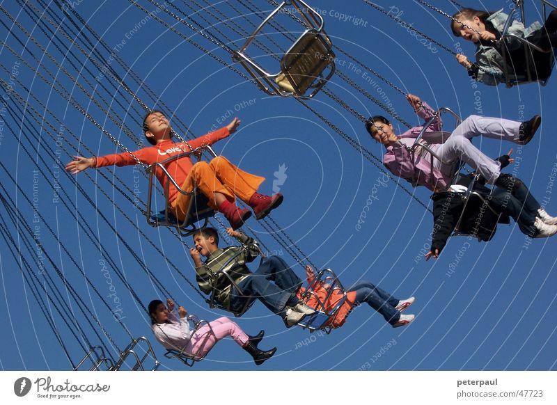 Child Girl Sky Red Joy Orange Flying Fairs & Carnivals To enjoy Human being Carousel