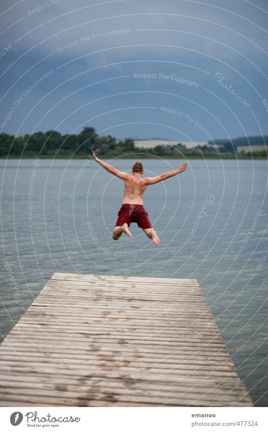 Human being Nature Youth (Young adults) Vacation & Travel Water Summer Landscape Joy Clouds Young man Cold Coast Freedom Wood Swimming & Bathing Lake