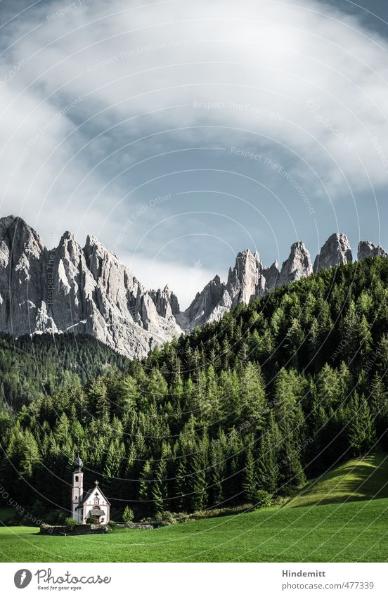 A little church stands in the forest ... (2) Vacation & Travel Tourism Sky Clouds Summer Beautiful weather Forest Hill Rock Alps Mountain Peak Dolomites Church