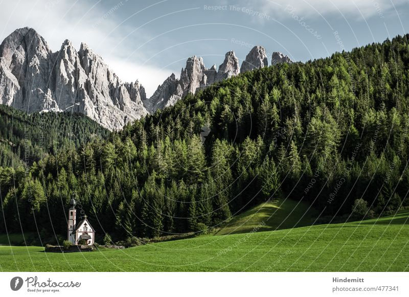 A little church stands in the forest ... (3) Vacation & Travel Tourism Sky Clouds Summer Beautiful weather Tree Grass Meadow Forest Hill Rock Alps Mountain Peak