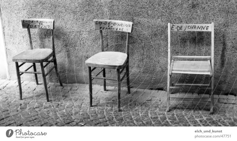 Siesta in Bevagna Umbria Tuscany Italy Chair Wall (building) Possessions Still Life a place in the sun Street Black & white photo