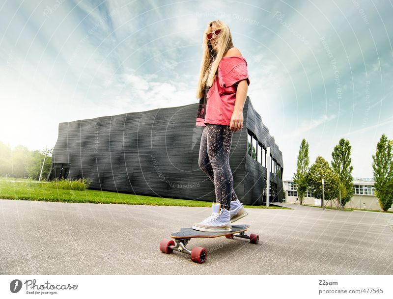 cruising Lifestyle Style Leisure and hobbies Summer Sports Longboard Skateboard Feminine Young woman Youth (Young adults) 18 - 30 years Adults Sky Sunlight