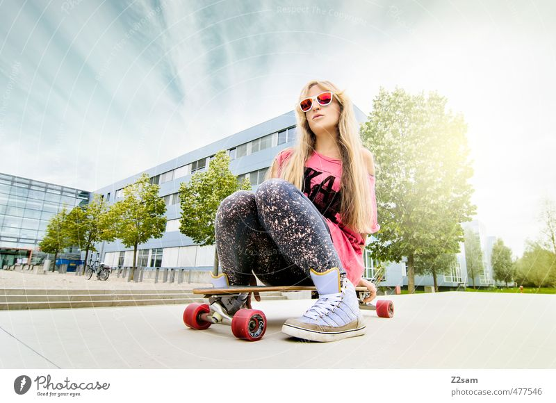 Sky Youth (Young adults) City Summer Tree Young woman 18 - 30 years Adults Feminine Sports Movement Style Fashion Pink Blonde Lifestyle
