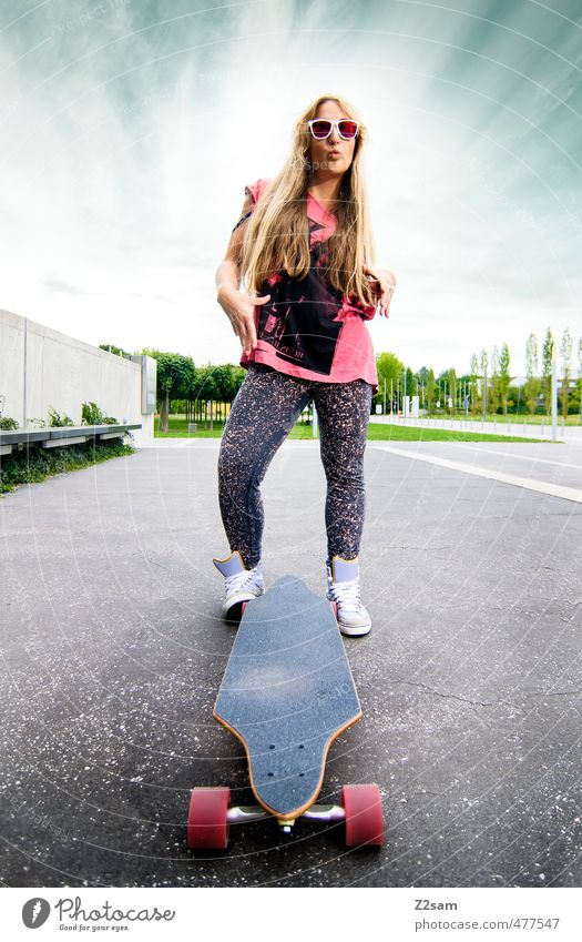 rock and roll Lifestyle Style Sports Longboard Skateboarding Feminine Young woman Youth (Young adults) 18 - 30 years Adults Sky Clouds Summer Beautiful weather