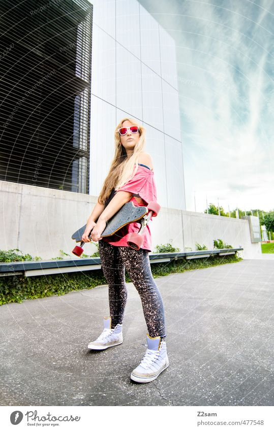 rock and roll Lifestyle Style Sports Skateboarding Longboard Feminine Young woman Youth (Young adults) 18 - 30 years Adults Sky Summer Beautiful weather Town