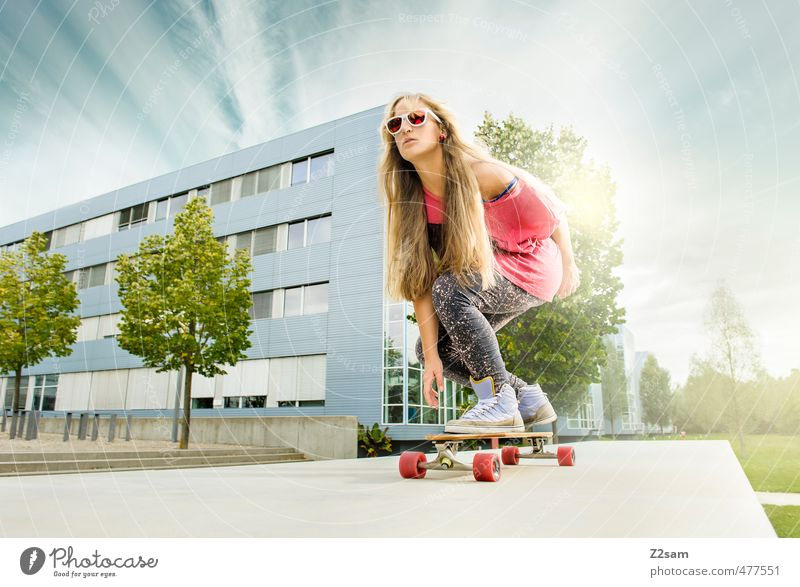 Boards that mean the world! Style Sports Skateboarding Feminine Young woman Youth (Young adults) 18 - 30 years Adults Landscape Sky Summer Tree Bushes Town