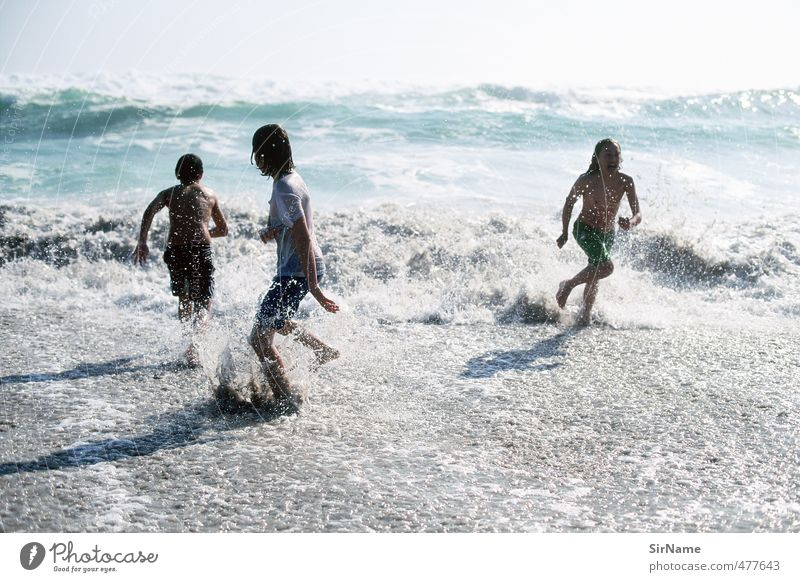 Human being Child Youth (Young adults) Vacation & Travel Water Summer Beach Life Boy (child) Playing Freedom Swimming & Bathing Natural Horizon Waves Infancy