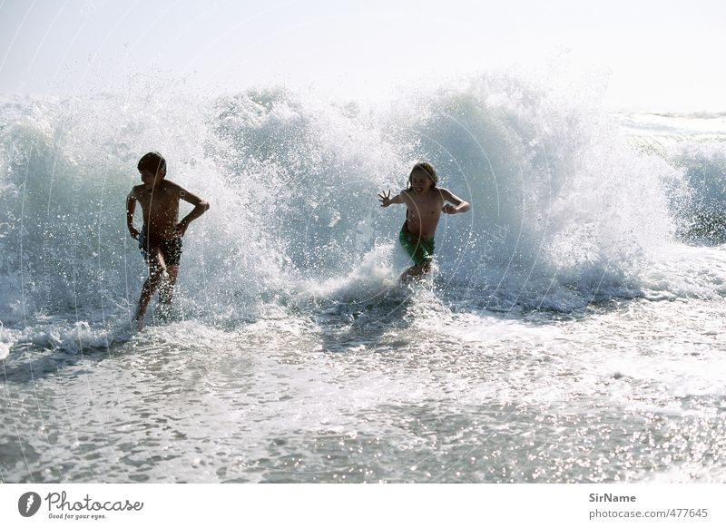 239 [Run with the surf] Life Leisure and hobbies Playing Children's game Vacation & Travel Adventure Freedom Summer Summer vacation Beach Ocean Waves