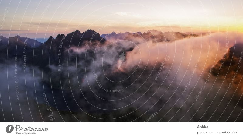 Lofoten VII Harmonious Well-being Contentment Senses Calm Meditation Vacation & Travel Adventure Far-off places Freedom Nature Landscape Mountain Peak Fjord