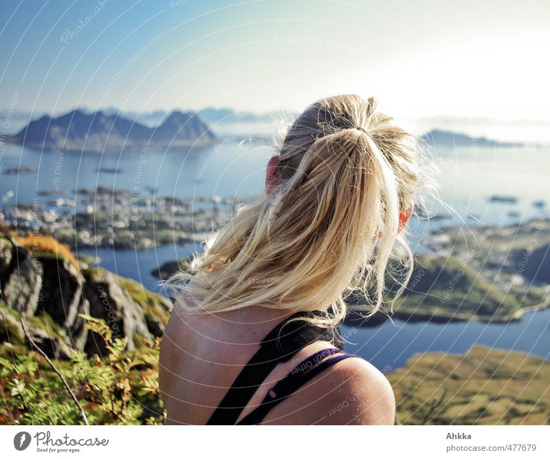Nature Vacation & Travel Landscape Calm Far-off places Mountain Emotions Hair and hairstyles Freedom Think Head Horizon Moody Masculine Success Tourism