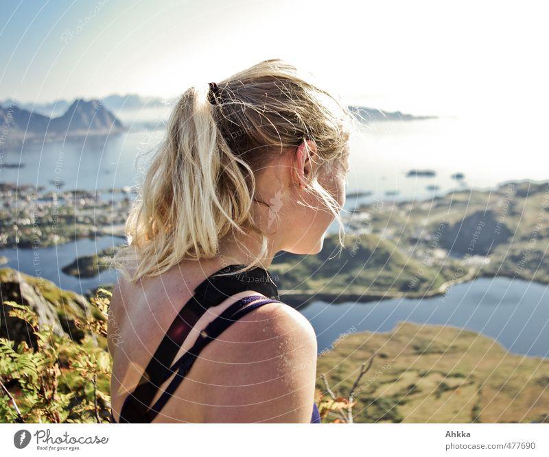 Lofoten V Vacation & Travel Trip Adventure Far-off places Freedom Mountain Hiking Feminine Head Back 1 Human being Nature Landscape Bay Fjord Bangs Breathe