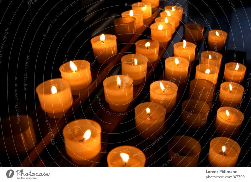 memorial flames Candle Light Dark Rome Italy Altar Prayer Religion and faith Orange Flame Stairs