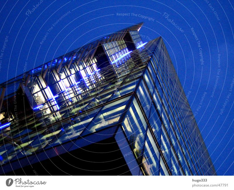 a look up Railroad Night Dark High-rise Potsdamer Platz Night sky Berlin Tower Evening Blue Light Tall Lighting Modern Glass Architecture