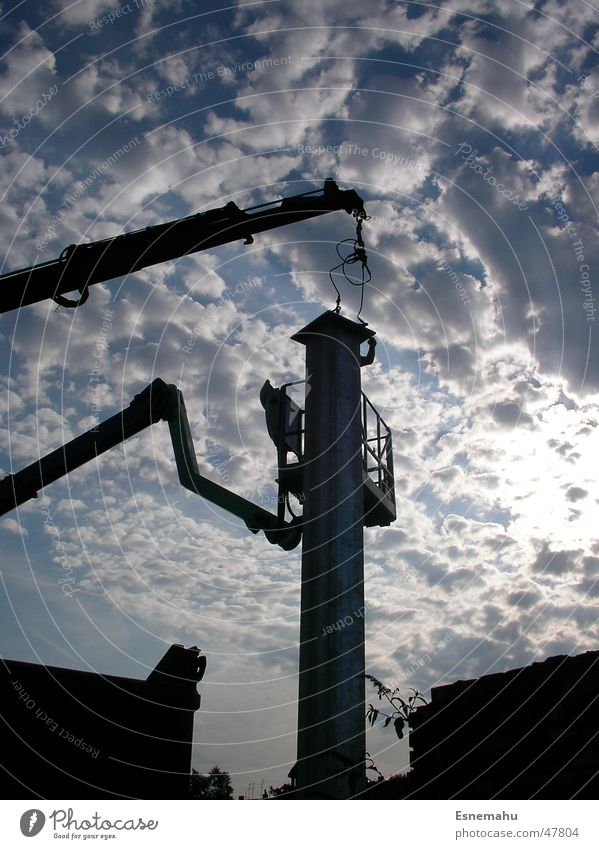 Threatening Tower Clouds White Gray Black Dark Crane Construction site Construction worker House (Residential Structure) Lift Long Dangerous Stripe Poster Media