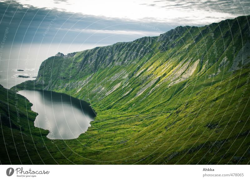 Nature Vacation & Travel Green Ocean Loneliness Landscape Far-off places Dark Mountain Emotions Freedom Think Exceptional Moody Wild Hiking