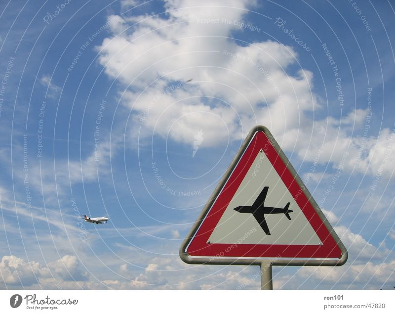 Sky White Blue Red Clouds Airplane Signs and labeling Respect Road sign