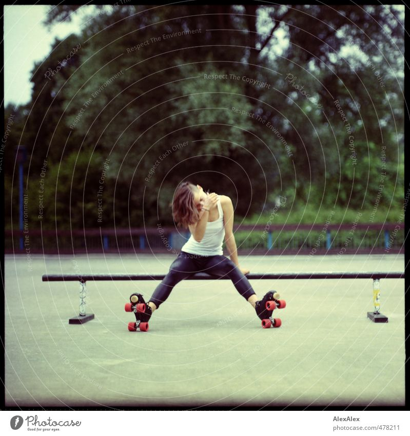 roller girl Sports Fitness Sports Training Roller skates Rollerskating Skater circuit Young woman Youth (Young adults) Body 18 - 30 years Adults Summer Leggings