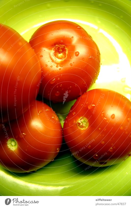 Tomato on plate Red Green Plate Interior shot Water Drops of water reflection