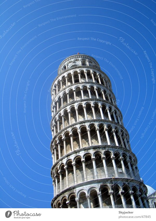 Old Sky Blue Building Construction site Tower Italy Monument Story Landmark Build Tuscany PISA study Tilt