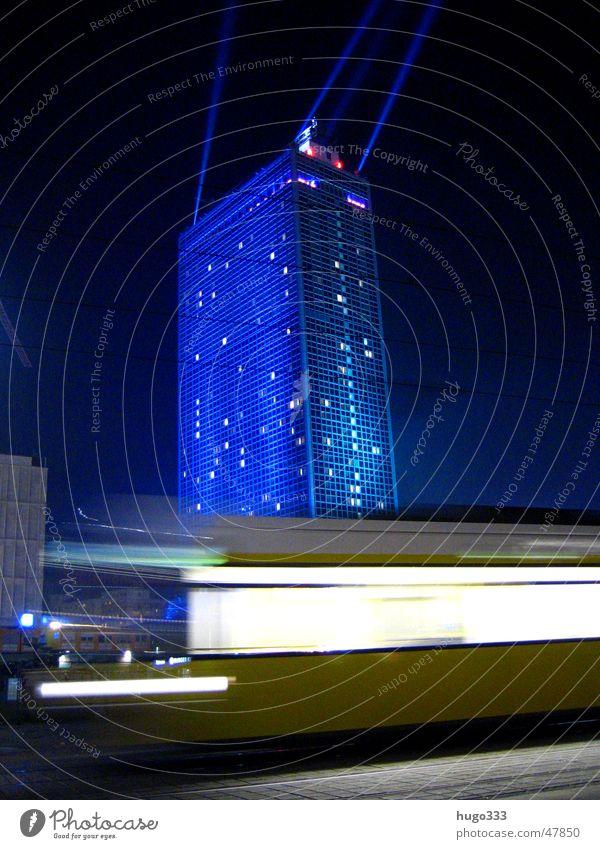 Blue Berlin Transport Speed Night sky Tram Illumination Alexanderplatz Beam of light Public transit