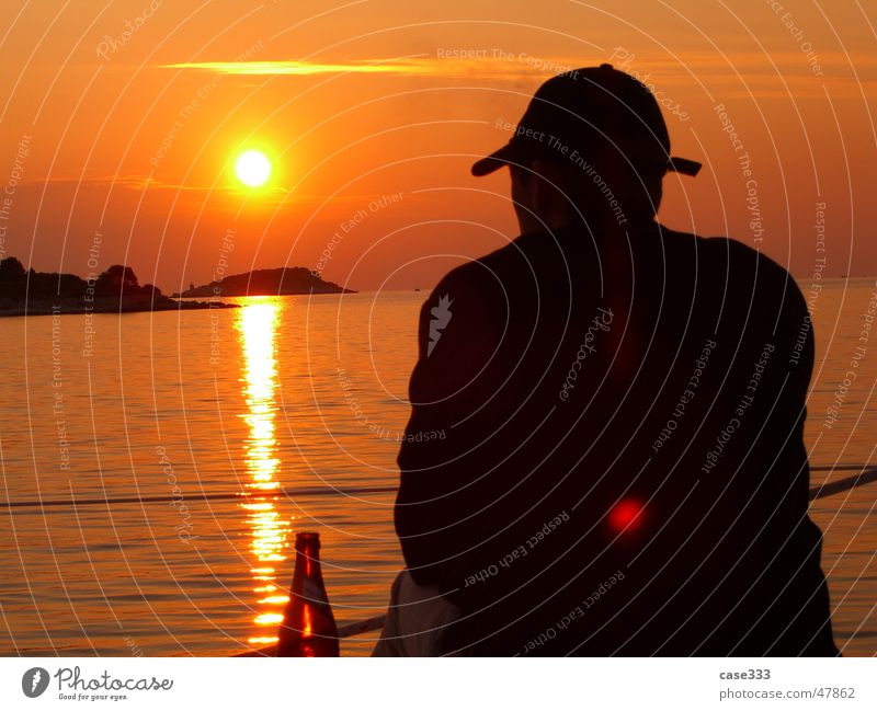 longing Sunset Man Watercraft Croatia Longing Sky Shadow Island