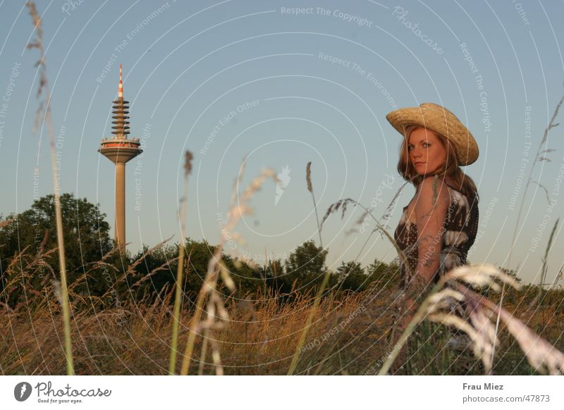 Woman Sky Sun Meadow Park Field Hat Frankfurt Red-haired Cowboy Steppe Television tower Western Asparagus