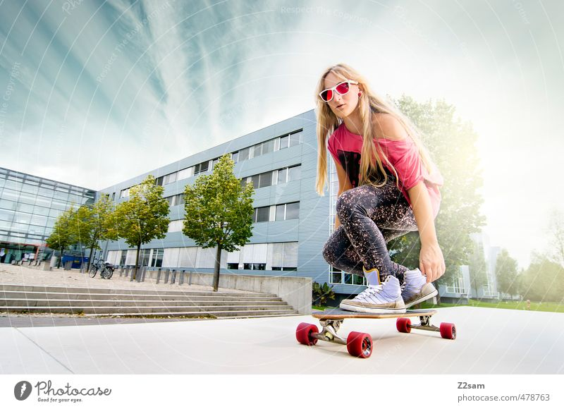 Boards that mean the world! Lifestyle Style Sports Skateboarding Longboard Feminine Young woman Youth (Young adults) 1 Human being 18 - 30 years Adults