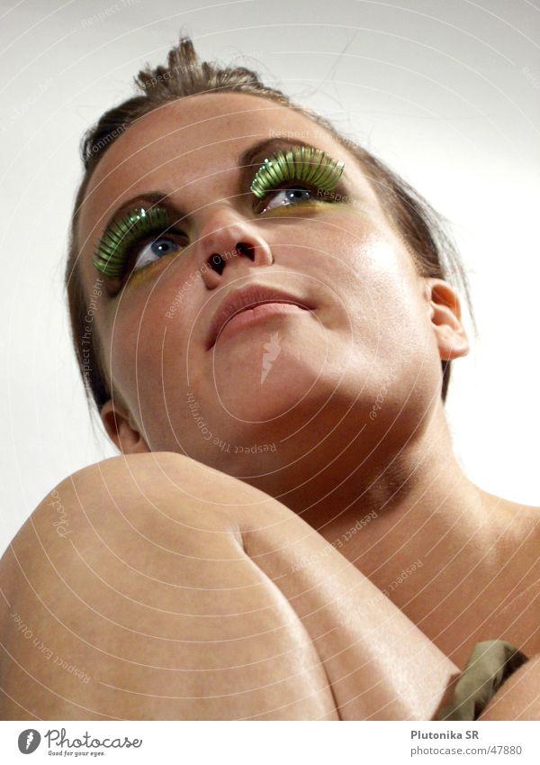 Woman Green Face Eyes Mouth Legs Bright Skin Ear Neck Eyelash Knee Chin