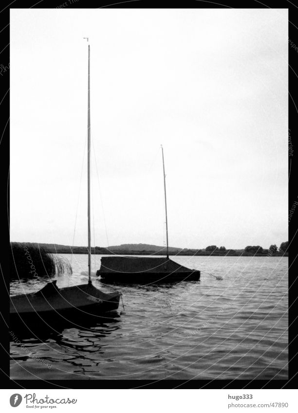 Lord: it's time. The summer was very big... Watercraft Sailboat Lake Covers (Construction) Calm Brandenburg Black & white photo