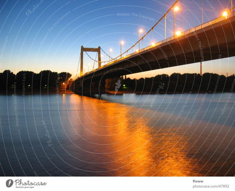 Mühlheimer Bridge Cologne Twilight Light Long exposure Zoo bridge Evening reflection Rhine