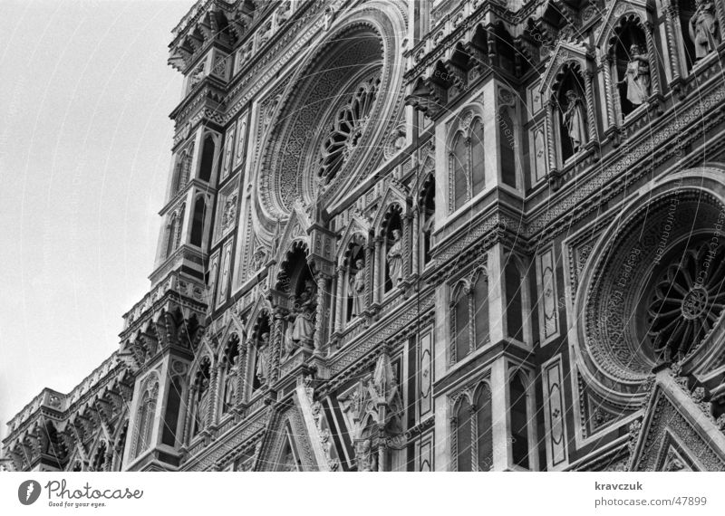 Al Duomo Tuscany Italy Historic Worm's-eye view Renaissance Dome dom santa maria del fiore Florence firenze Black & white photo Detail Decoration Architecture