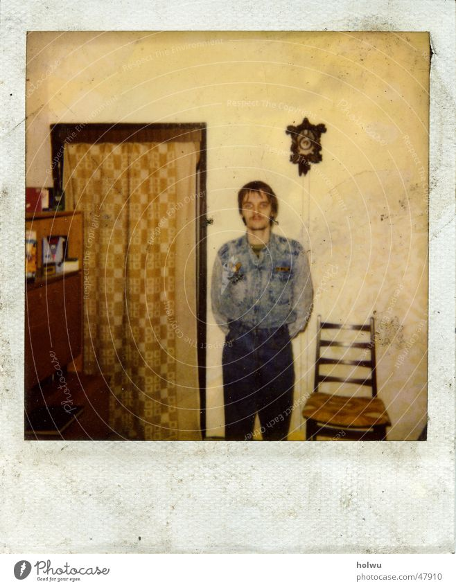 Polaroid Old Dirty Flat (apartment) Jeans Chair Pants Cloth Wallpaper Trashy Shirt GDR Drape Old fashioned Backrest Cuckoo clock