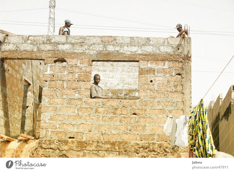House (Residential Structure) Wall (barrier) Roof Africa Working man