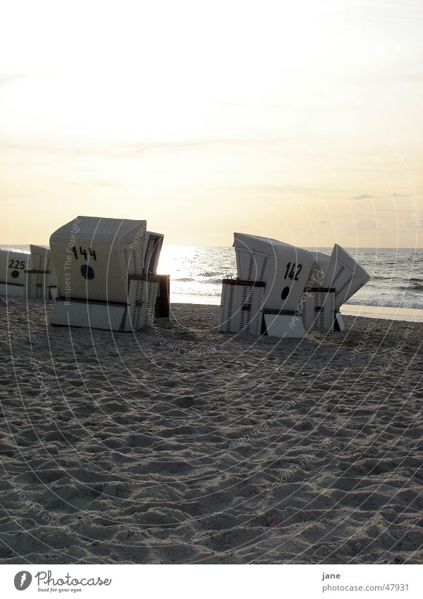 Late summer at Sylt beach Kampen Beach Beach chair Sunset Autumn Vacation & Travel Ocean Wanderlust Romance Evening Bathing place Early fall Clouds Water