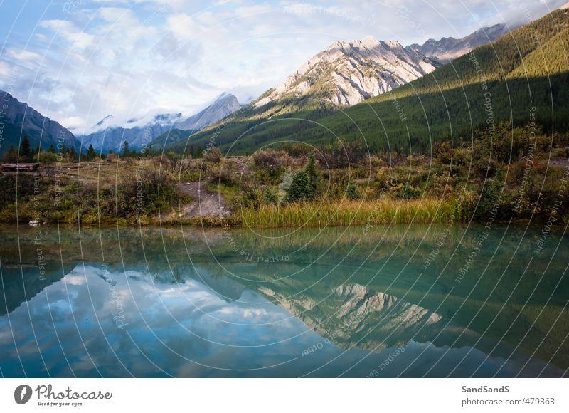Banff National Park Pot Beautiful Calm Vacation & Travel Summer Mountain Mirror Nature Landscape Sky Clouds Tree Rock Canyon Green Alberta Alpine Canada ink