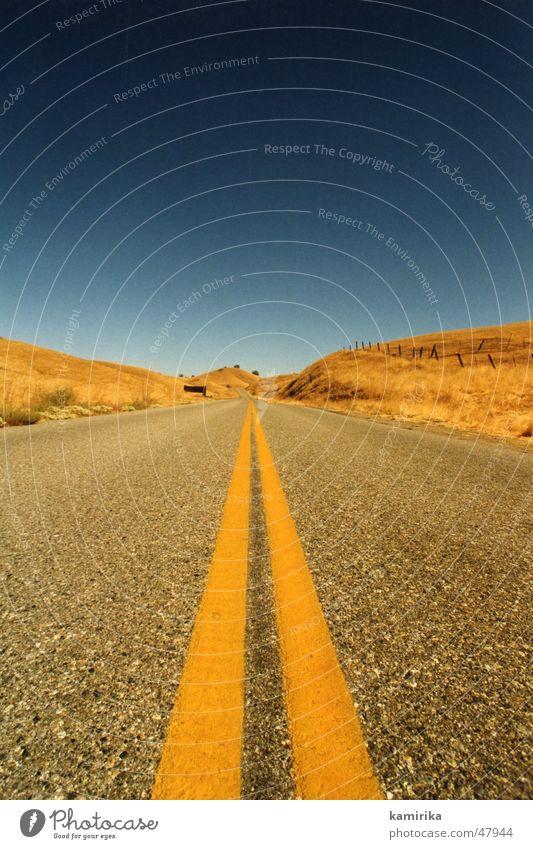Blue Sun Yellow Street Lanes & trails Grass Sand Line Speed Desert Infinity Eternity Dry California Los Angeles