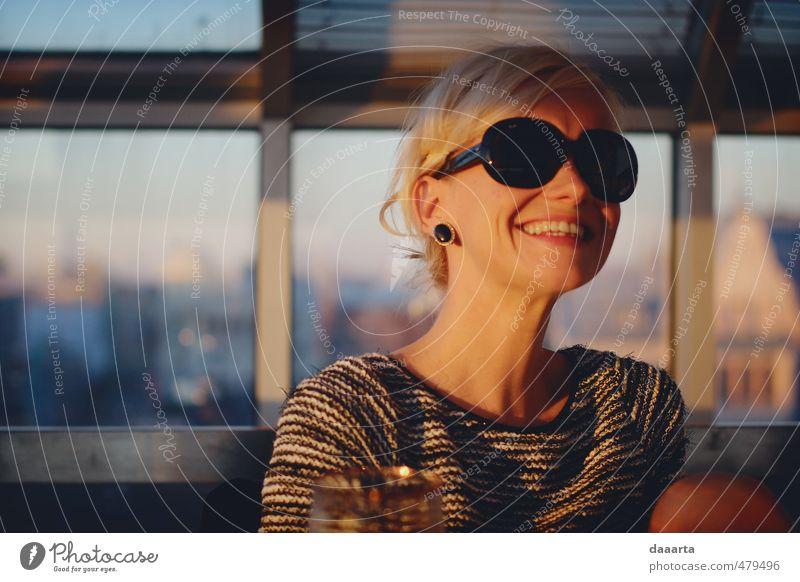 happy autumn Elegant Joy Flirt Feminine Youth (Young adults) 1 Human being 18 - 30 years Adults Earring Sunglasses Blonde Self portrait Happiness Glittering