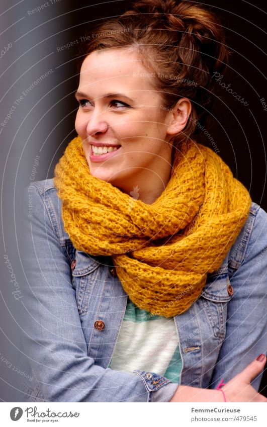 Autumnal Woman (III). Lifestyle Style Beautiful Feminine Young woman Youth (Young adults) Adults 1 Human being 18 - 30 years Cuddly Joy Scarf Yellow