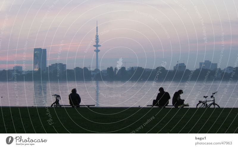 Hamburg at the blue hour Alster Lake Twilight Break Bicycle Sky Evening Silhouette Shadow Human being Television tower Cycling Hamburg TV tower