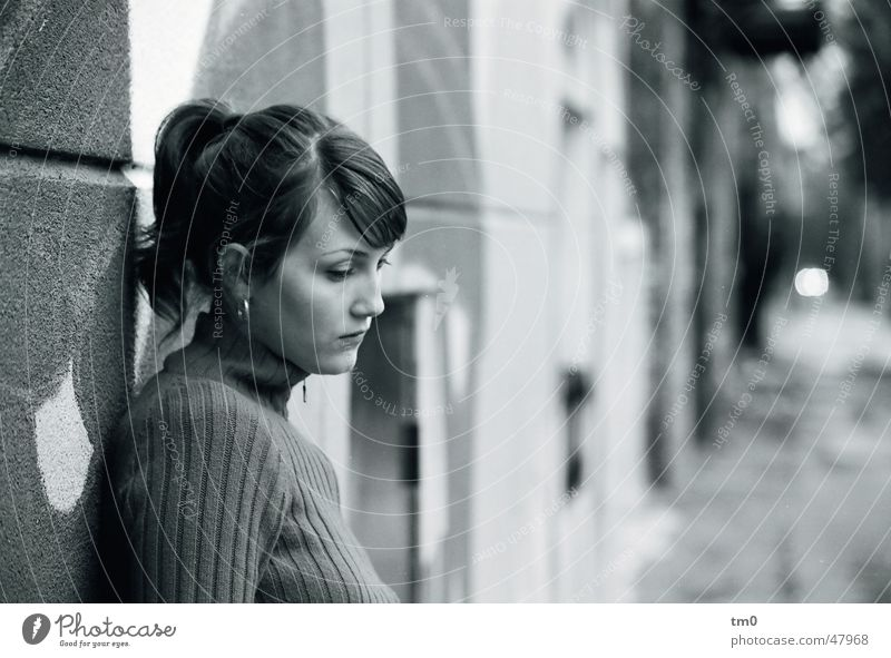 Woman Beautiful Street Wall (building) Sadness Think Grief Longing 8