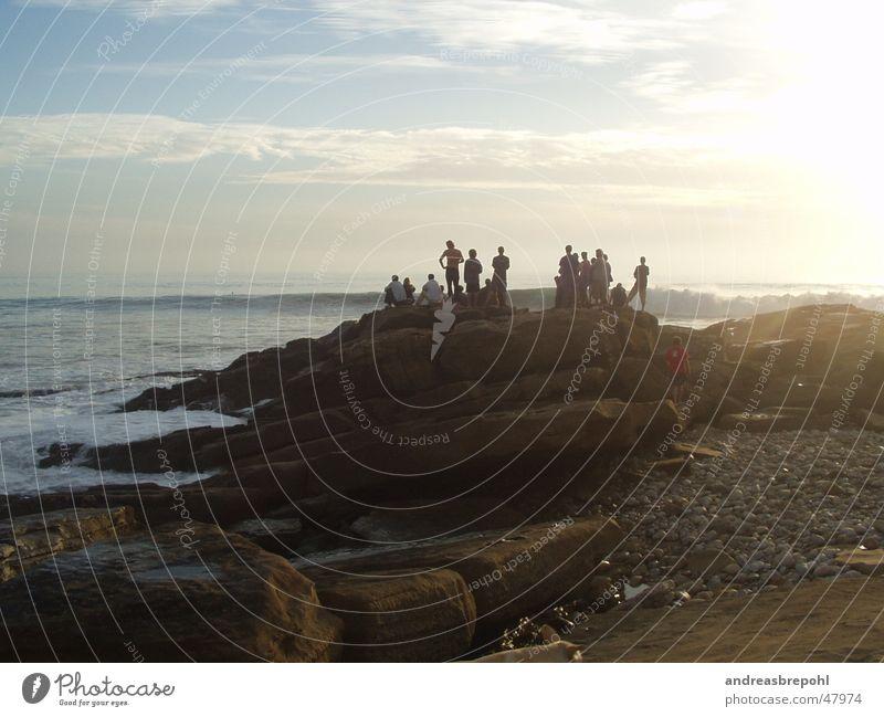 Human being Water Sky Sun Ocean Calm Clouds Landscape Contentment Waves Rock Serene Surf